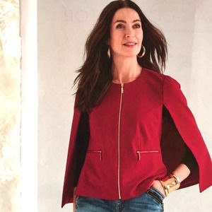 Chico's Red Ponte Blouse Zip Up Cape size Small